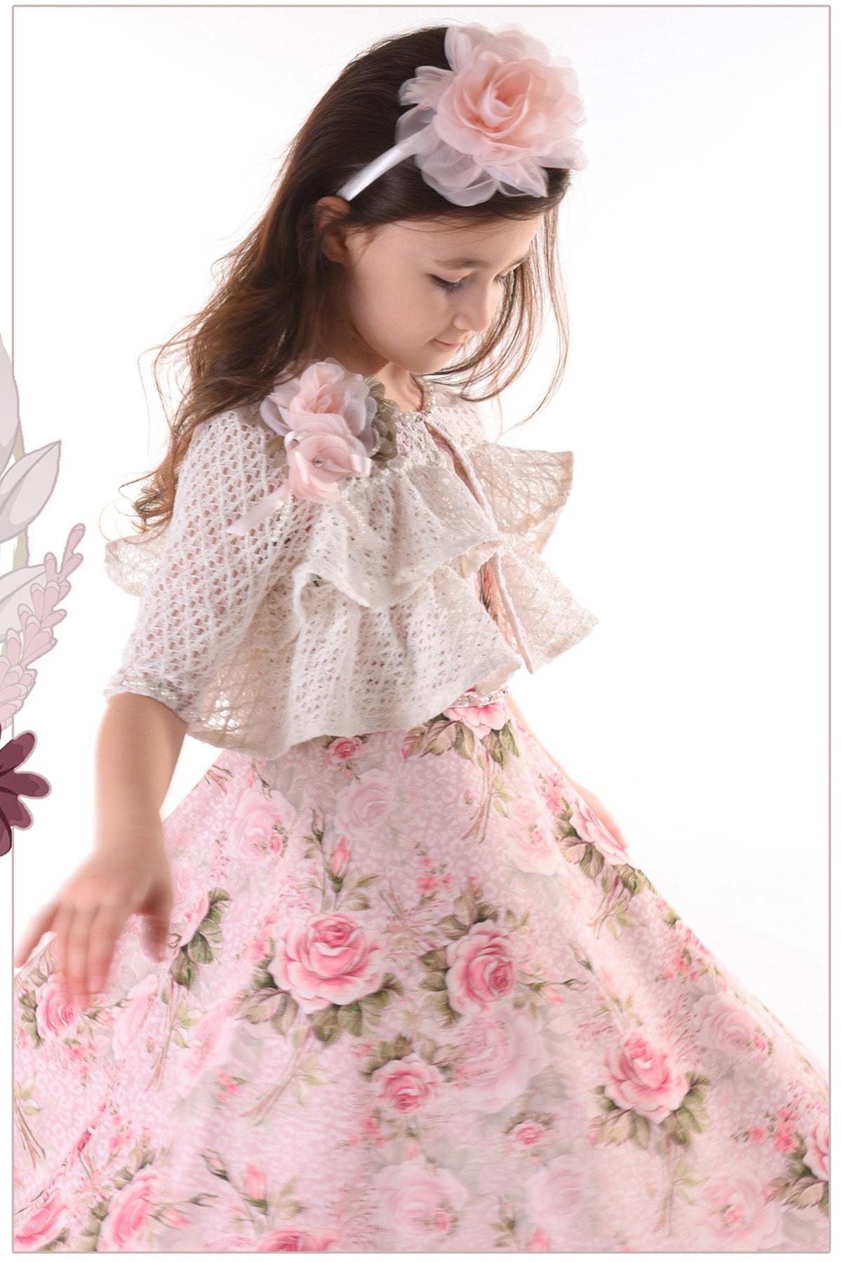 Mialora Couture Pembe, Bolerolu, Çiçekli, Taçlı Kız Çocuk Abiye Elbise 2