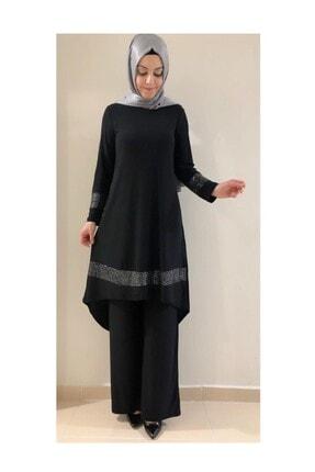 modasura Büyük Beden Kadın Payetli Tunik Pantolon Takım Siyah