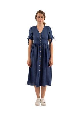 Prego Mavi Düğmeli Midi Elbise