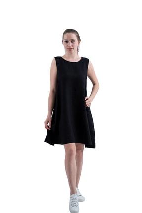 Prego Siyah Kolsuz Keten Elbise