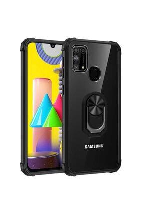 Samsung Galaxy M31 Yüzüklü Silikon Kılıf Siyah