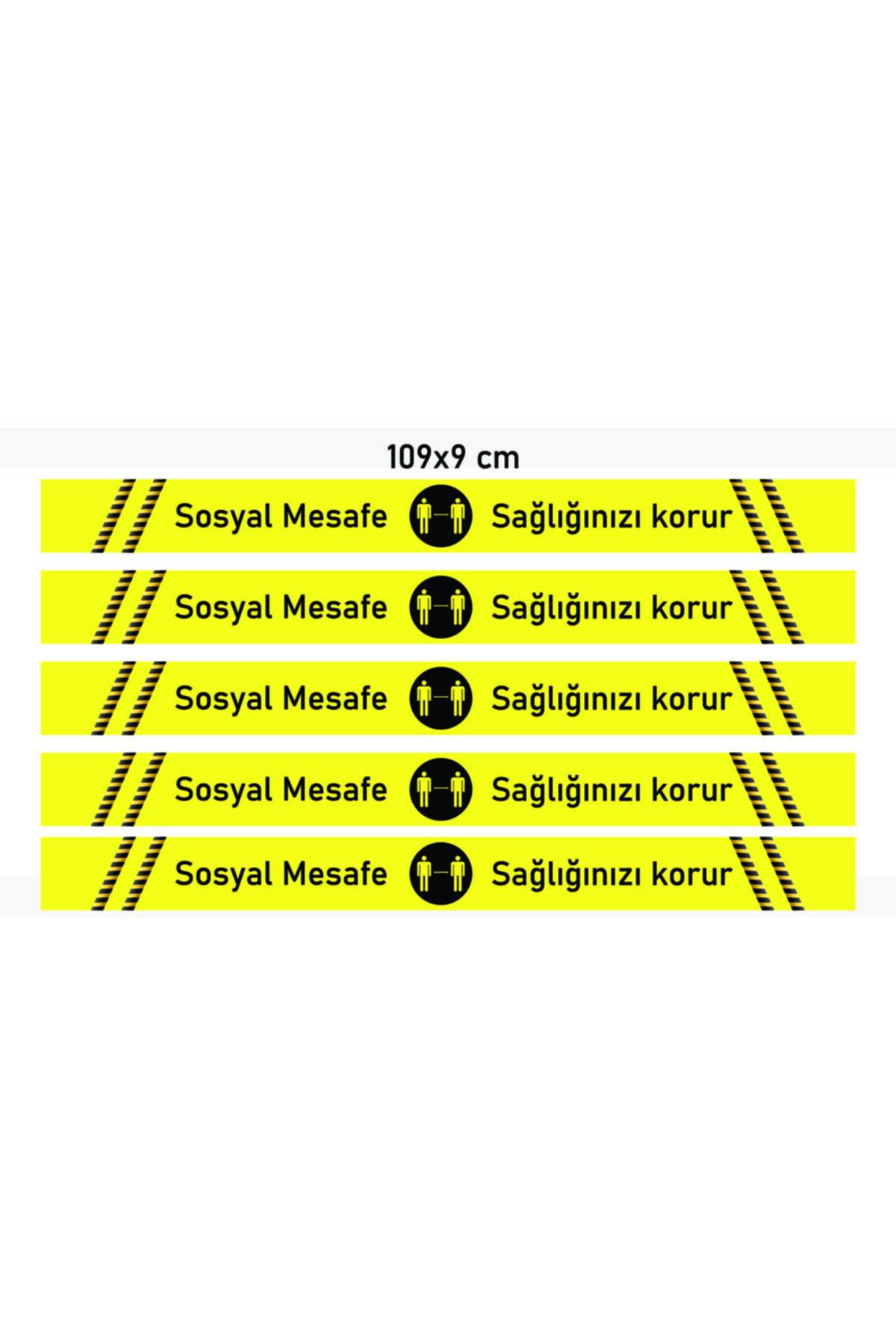 ELF Sosyal Mesafe Uyarı Sticker Yer Şerit Bant 5 Adet 2