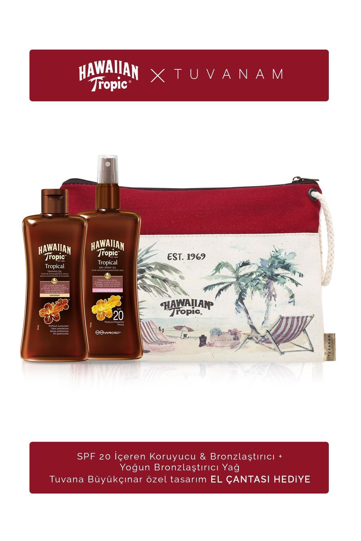 Hawaiian Tropic Spf 20 Koruyucu&Bronzlaştırıcı + Bronzlaştırıcı + Tuvanam El Çantası Hediye