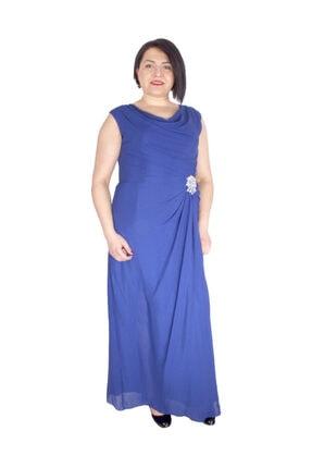 Günay Giyim Kadın Saks Mavi Abiye Abiye Elbise 41273100002703