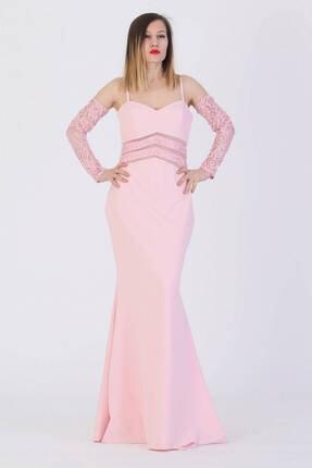 Günay Giyim Kadın Pembe Askılı Abiye Elbise 41273200000601