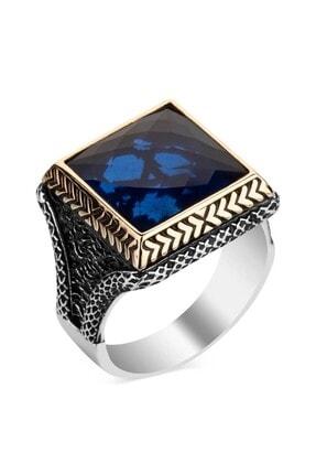 Anı Yüzük Mavi Zirkon Taşlı Kare Tasarım Erkek Gümüş Yüzüğü