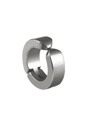 VipBT Deliksiz Sıkıştırmalı Titanyum Çelik Erkek Küpe Kıskaçlı Yaylı Gümüş Gri