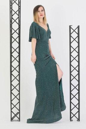 Günay Giyim Kadın Yeşil Abiye Kısa Kol Abiye Elbise 11273200003502