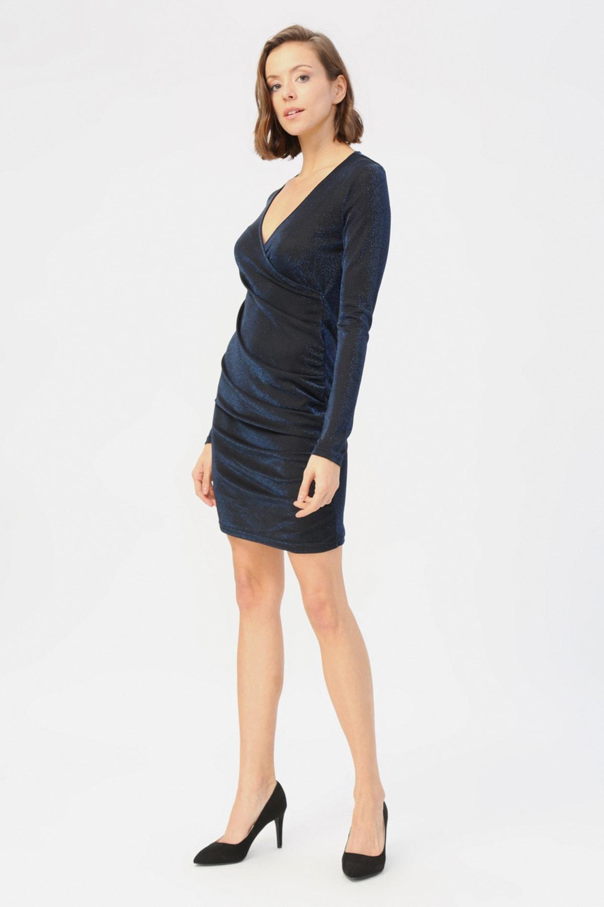 Vero Moda Kadın Mavi Parıltılı Kruvaze Yaka Elbise MDENISE 2