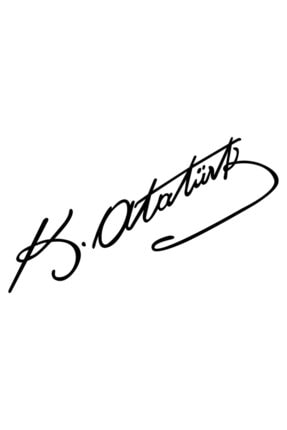 Quart Aksesuar Siyah 20 Cm Kemal Atatürk Imza Sticker Araba, Oto Araç Sticker