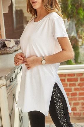 XHAN Kadın Beyaz Yırtmaçlı Bisiklet Yaka T-shirt 9yxk1-41909-01