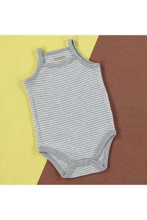 HelloBaby Bebek Çizgili Ribana İp Askılı Çıtçıtlı Yaka Tek Body