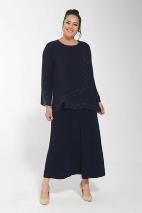 POTİMOR Kadın Lacivert Asimetrik Önü Taş Detaylı Şifon Elbise