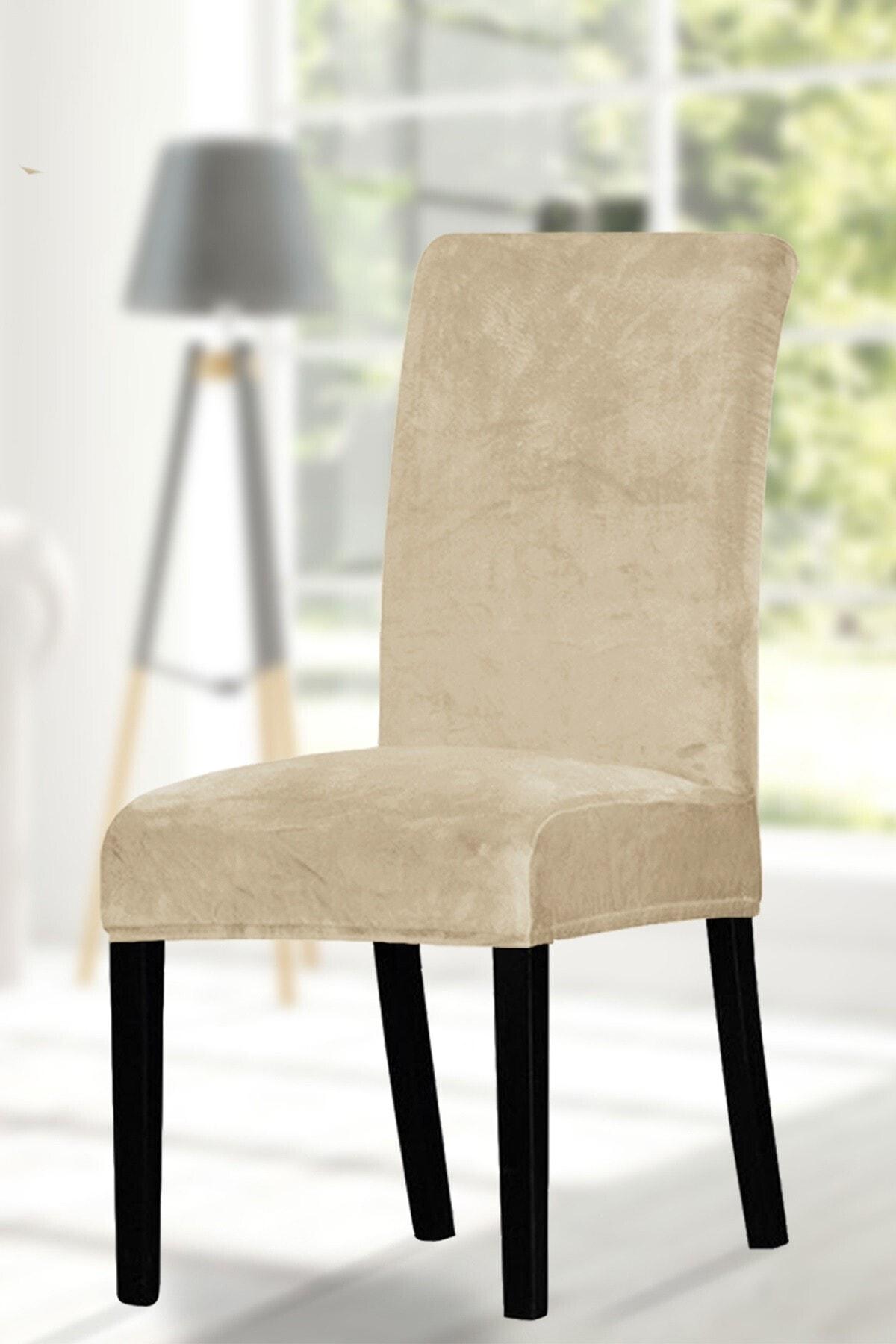 ihsantrade Sandalye Kılıfı. 6 Lı. Kaliteli Kadife Kumaş. Kenarları Lastikli En Boy Likralı Kılıf. Bej Rengi 1