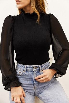 XHAN Kadın Siyah Kolu & Yakası Şifon Bluz 9KXK2-43154-02
