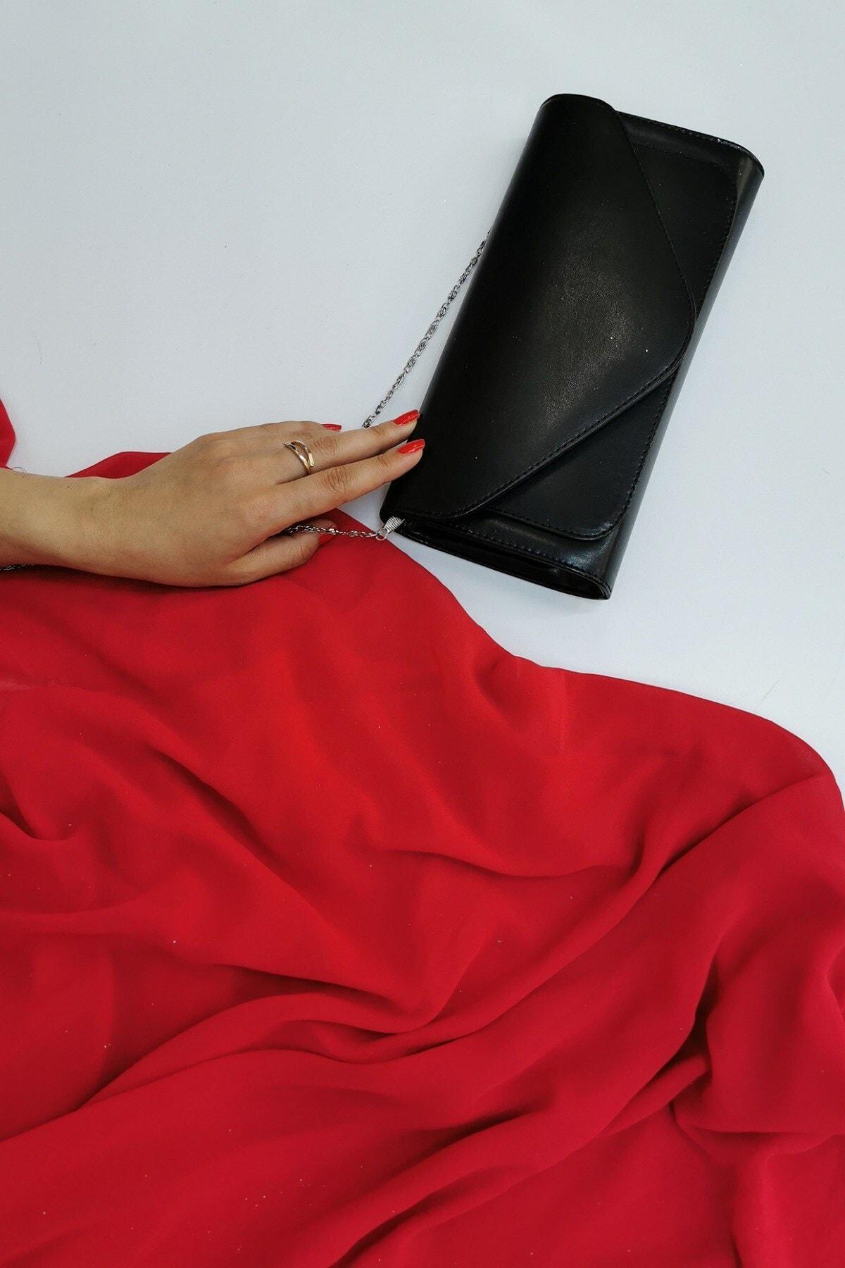 NAZART Deri Siyah Abiye Kadın Çantası 1