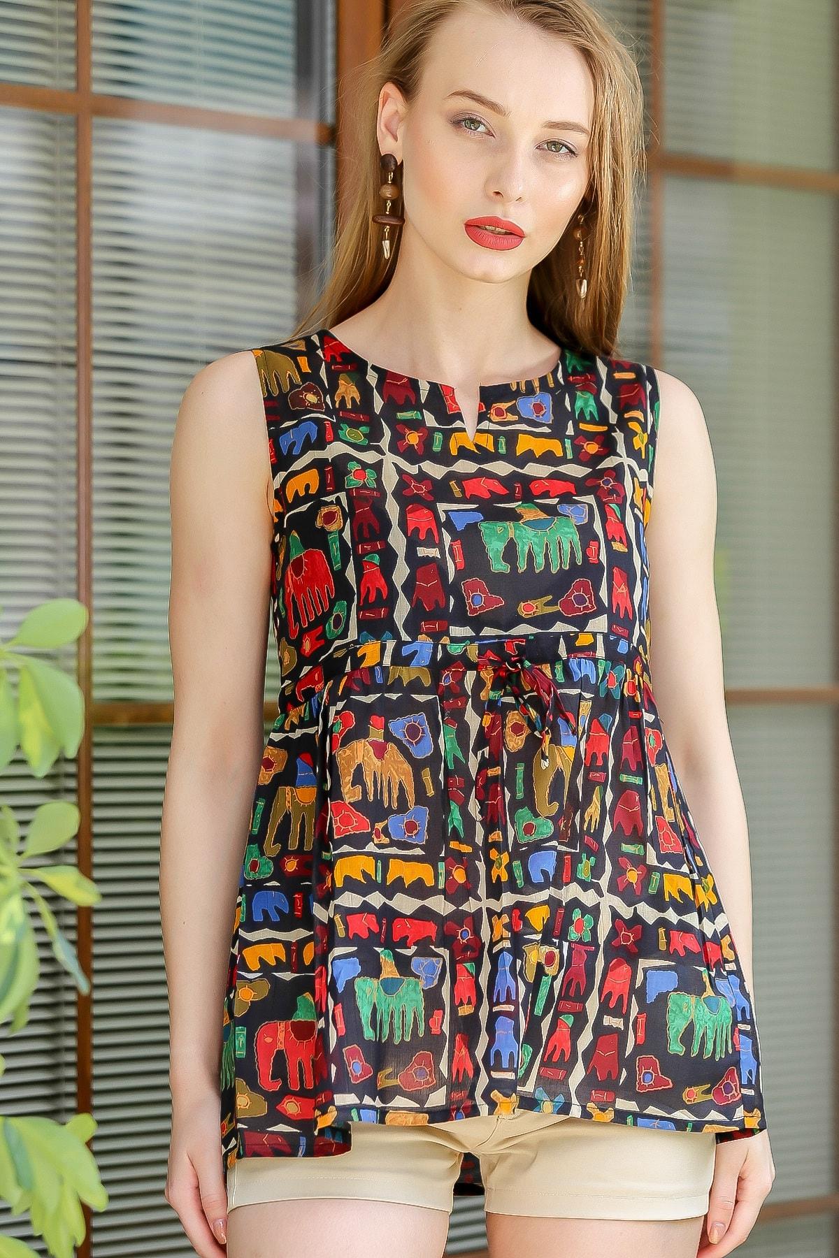 Chiccy Kadın Siyah Bohem Fil Baskılı Robadan Büzgülü Bluz M10010200BL96198