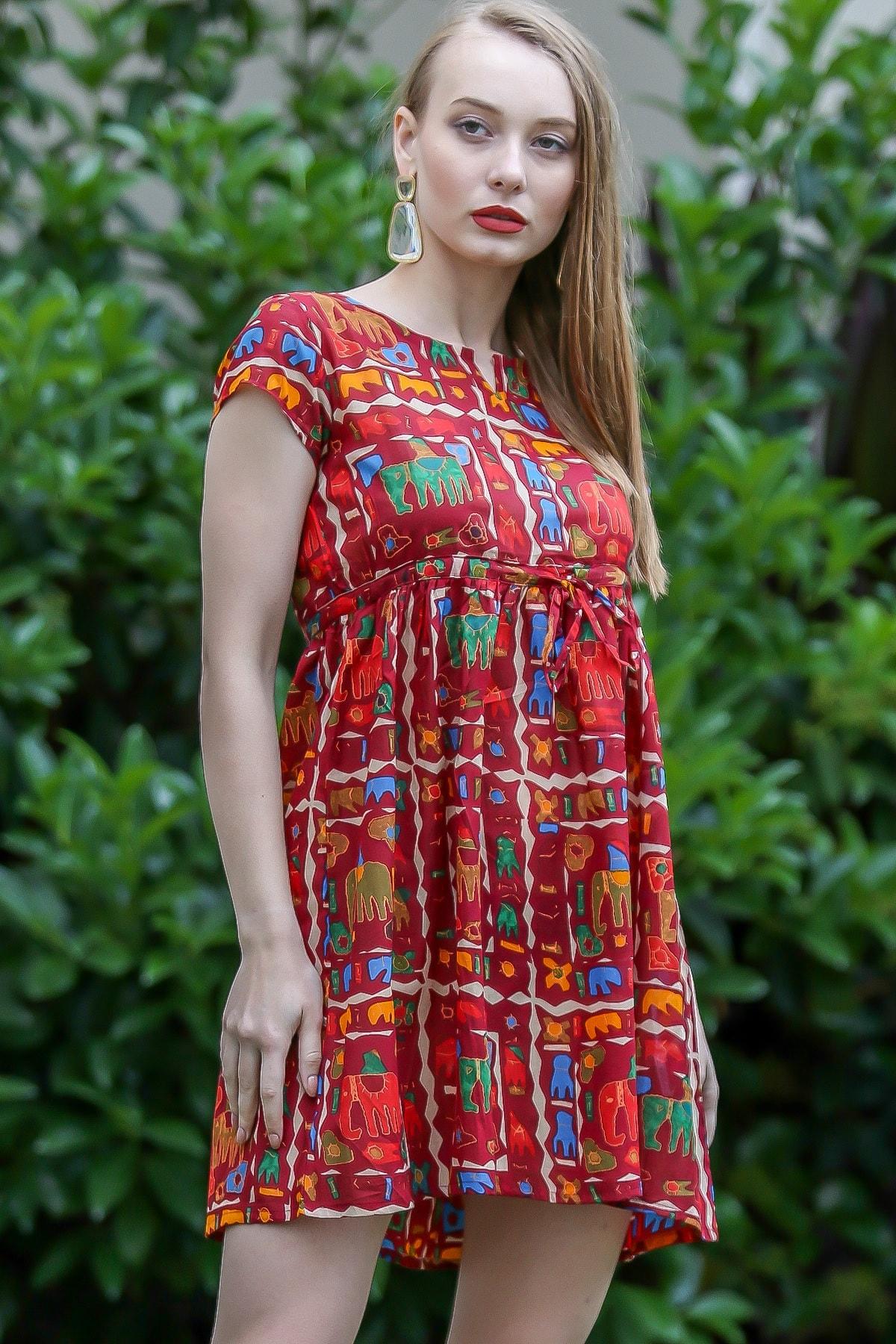 Chiccy Kadın Kiremit Bohem Fil Baskılı Robadan Büzgülü Tunik Elbise M10160000EL96690
