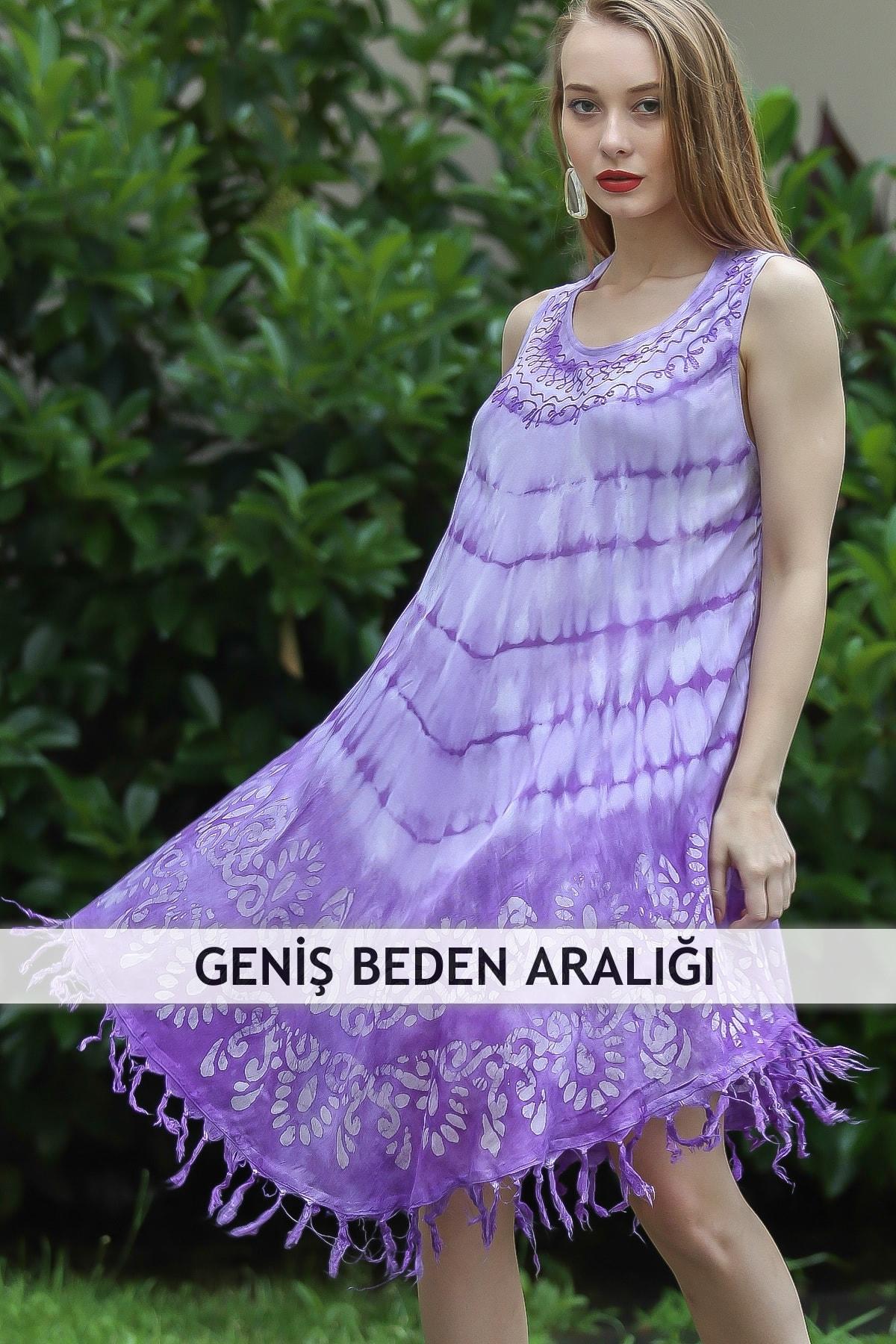 Chiccy Kadın Lila Bohem Batik Desenli Saçaklı Asimetrik Elbise M10160000EL96661