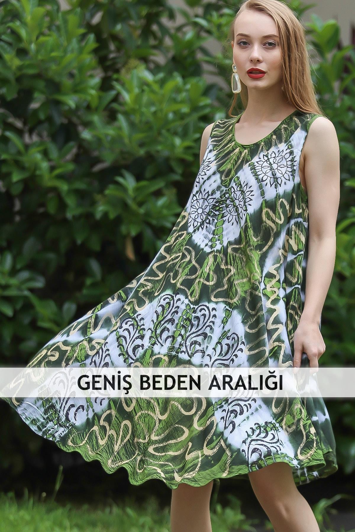 Chiccy Kadın Yeşil Bohem Batik Desenli Kolsuz Kloş Elbise M10160000EL96673