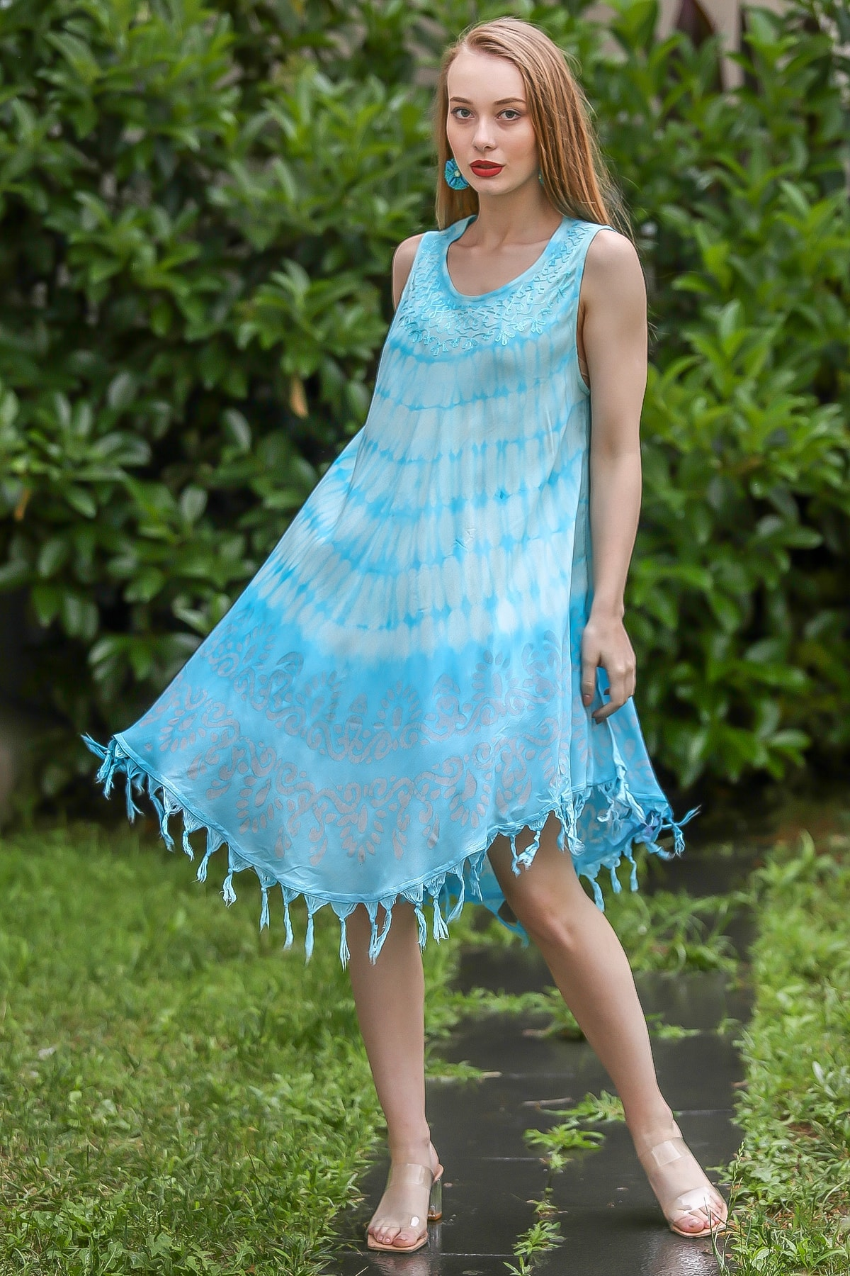 Chiccy Kadın Turkuaz Bohem Batik Desenli Saçaklı Asimetrik Elbise M10160000EL96664