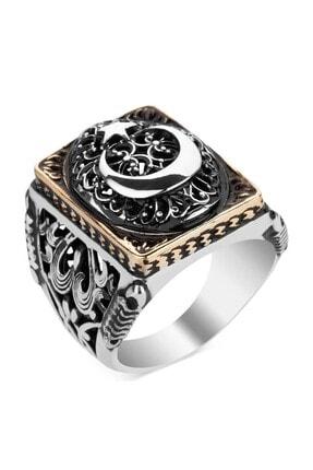 Anı Yüzük Ay Yıldız Figürlü Taşsız Gümüş Erkek Yüzüğü