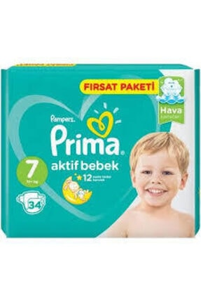 Prima Bebek Bezi Aktif Bebek 7 Beden 34 Adet Ekstra Large Fırsat Paketi
