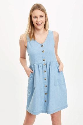 DeFacto Kadın Mavi Düğmeli V Yaka Jean Elbise L2328AZ.20SM.NM63