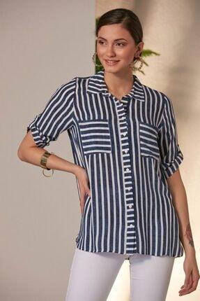 RMG Kadın Lacivert Çizgili Gömlek