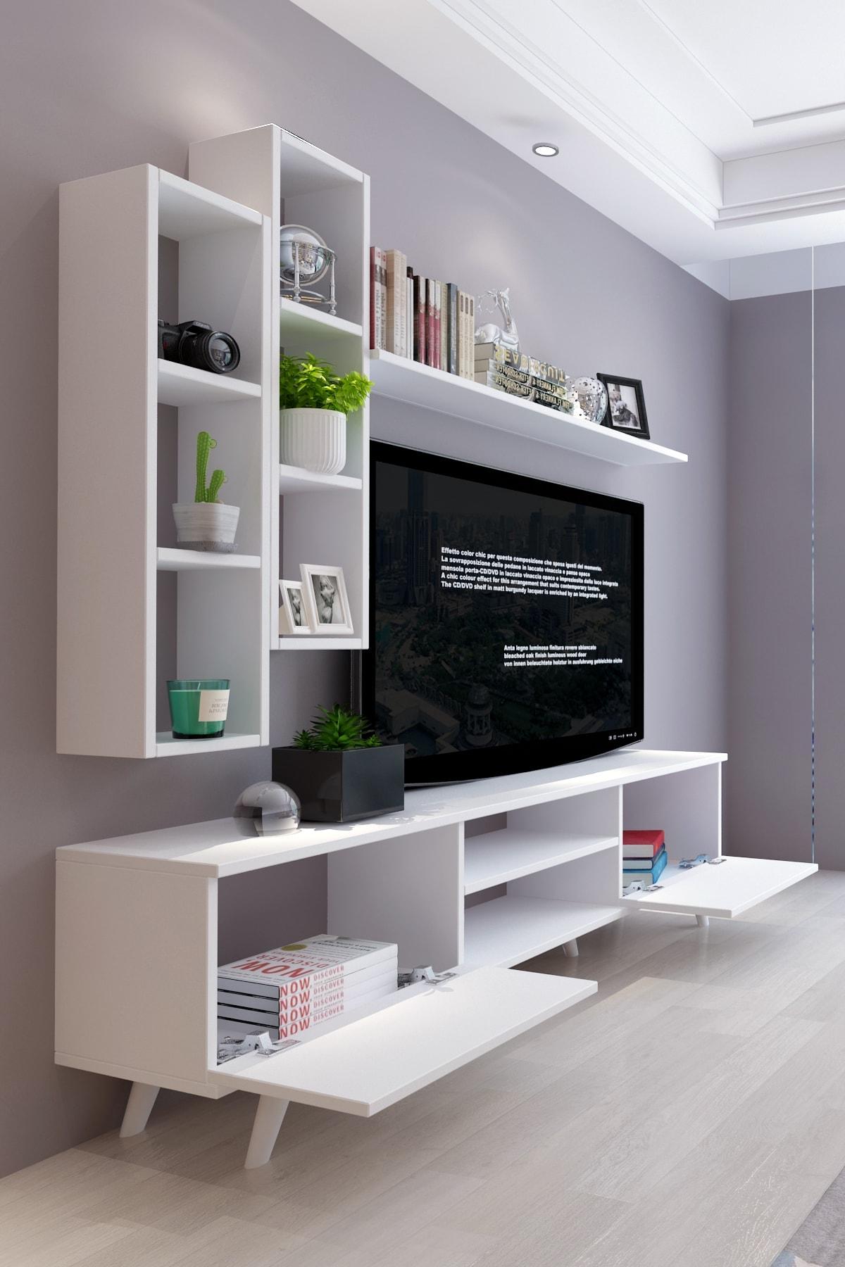 Moonlife İstanbul Dolaplı Tv Ünitesi 2 Beyaz 2