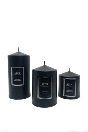 ROYAL MUM Silindir Mum 3 Lü Pudra Kokulu Süper Siyah Set Çap 6 Cm Boylar 6-9-12 Cm