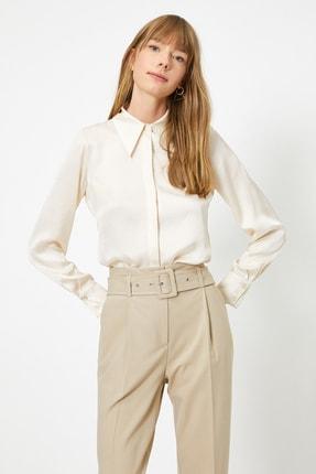 Koton Kadın Ekru Uzun Kollu Saten Gömlek