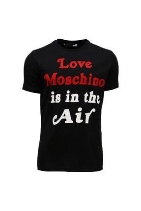 Love Moschino Is In The Aır Siyah Baskılı Erkek T-shırt