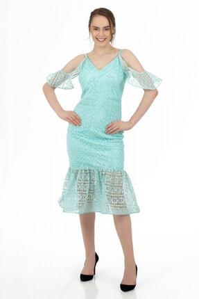 6ixty8ight Mint Dantelli Kolları Volanlı Kısa Abiye Elbise
