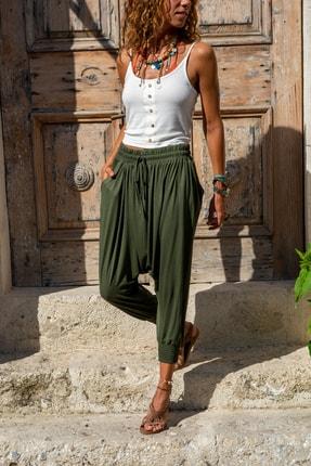 Güneşkızı Kadın Haki Beli Lastikli Şalvar Pantolon Gk-Ld303