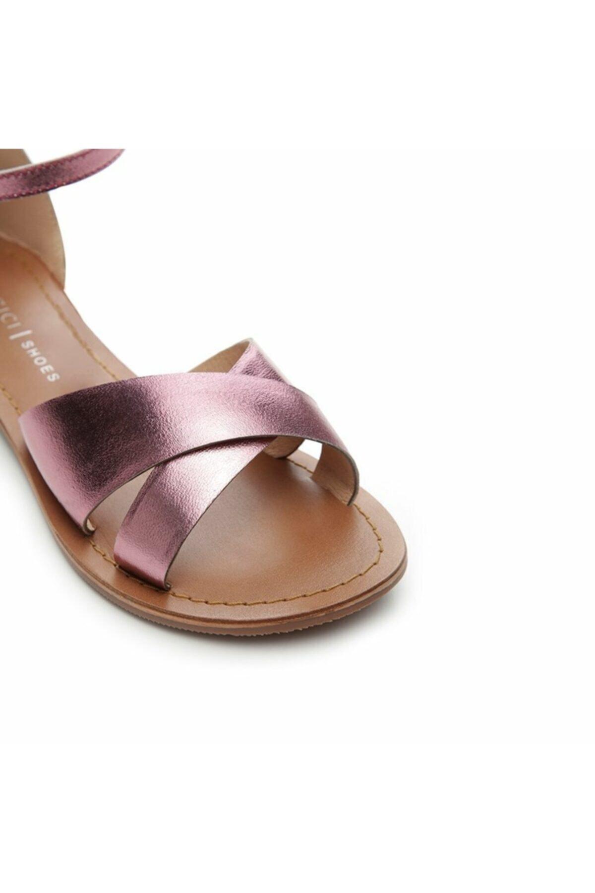 Yargıcı Kadın Mor Deri Sandalet 7YKAY4056X 2