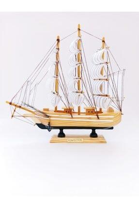 Deco Elit Ahşap El Yapımı Yelkenli Gemi Maketi Dekoratif Hobi 30 Cm -b