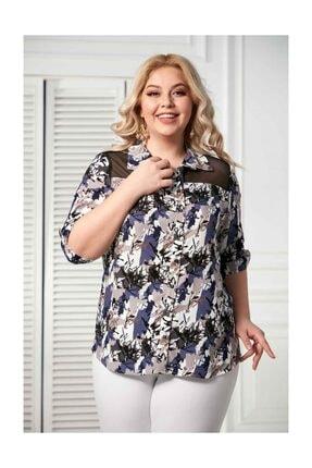 RMG Kol Detaylı Büyük Beden Indigo Gömlek