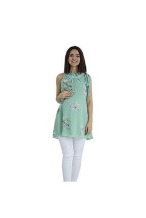Entarim Kadın Yeşil Hamile Şifon Tunik