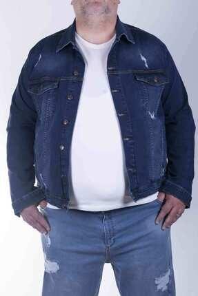 ZENET JEANS Erkek Mavi Süper Battal Koyu Mavi Lazer Kot Ceket