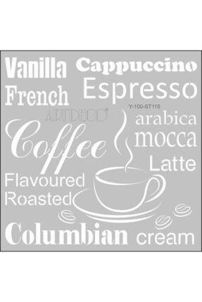 Artdeco Stencil 30x30cm Kahve Kelimeleri 115
