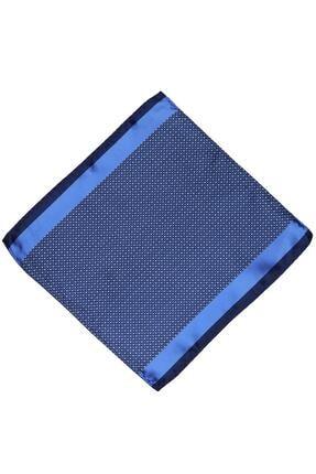 Kravatkolik Mavi Nokta Desen Ceket Mendili Km414