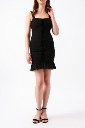 RANDOM Kadın S19rw012424002siyah Etek Ucu Fırfırlı Askılı Mini Elbise