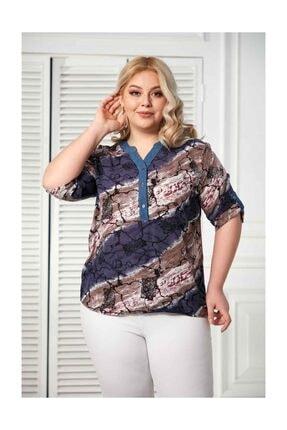 RMG Kadın Kol Detaylı Viskon Lacivert Bluz O4134