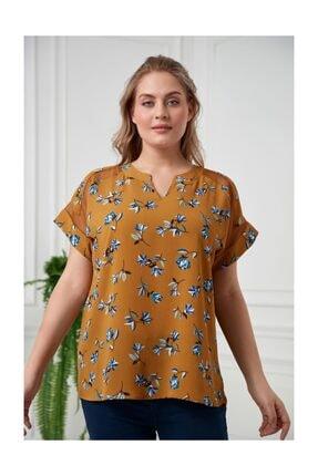 RMG Kadın Düşük Kollu Çiçekli Büyük Beden Hardal Bluz