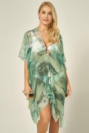 Y-London 13125-2 Batik Desenli Yeşil Pareo
