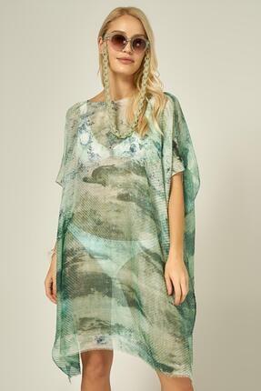 Y-London 13125-1 Batik Desenli Yeşil Pareo