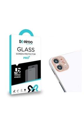 Eiroo Iphone 11 Rose Gold Taşlı Kamera Lensi Koruyucu