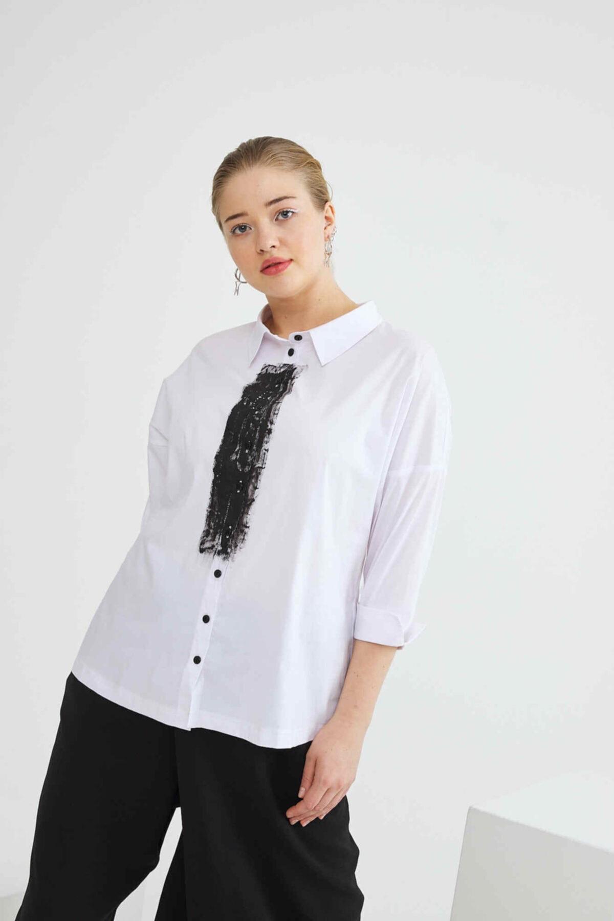 ZEYNEP SALAH Fırçalı Koton Gömlek 1