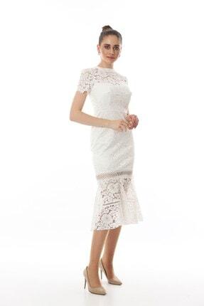 Shine İstanbul Beyaz Dantelli Eteği Volanlı Abiye Elbise